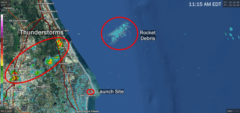Weather Radar Detects Spacex Rocket Falling Into Ocean After Explosion