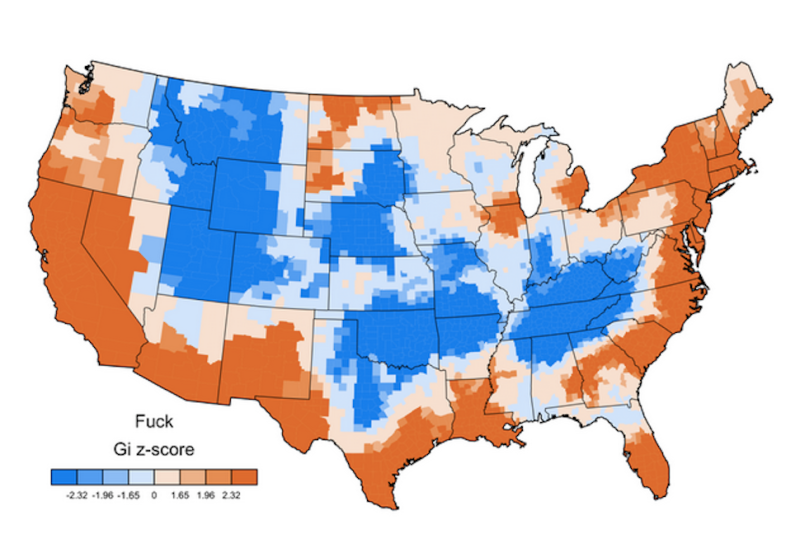 Do You Live In A Bitch Or A Fuck State American Curses Mapped - Us map of all states