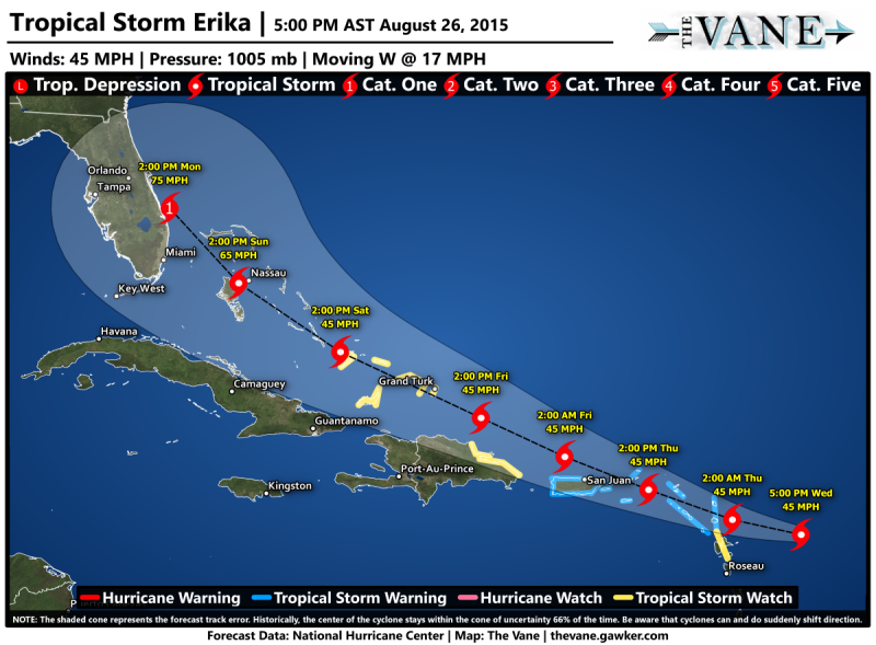 Tropical Storm Erika Could Break Florida S 3 594 Day Hurricane Free