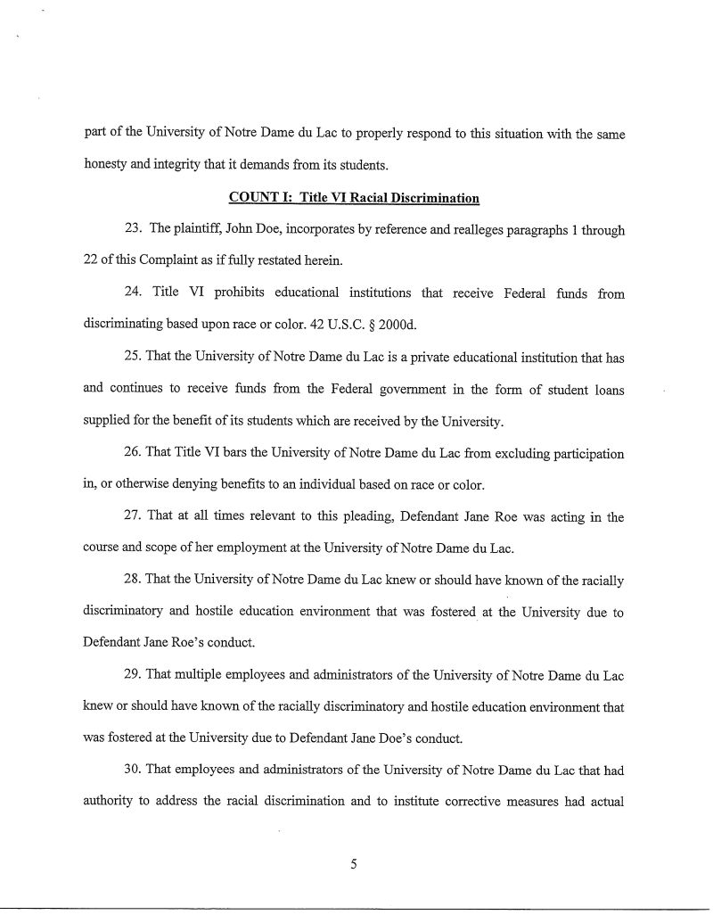 Complaint Against Notre Dame Alleging That Tutor Forced Student Complaint  Against Notre Dame Alleging That Tutor