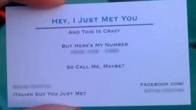 Is this call me maybe business card endearing or obnoxious updated carly rae jepsens pop hit call me maybe is the kind of song you love or hate or perhaps more accurately totally love and crank in the car when no one colourmoves