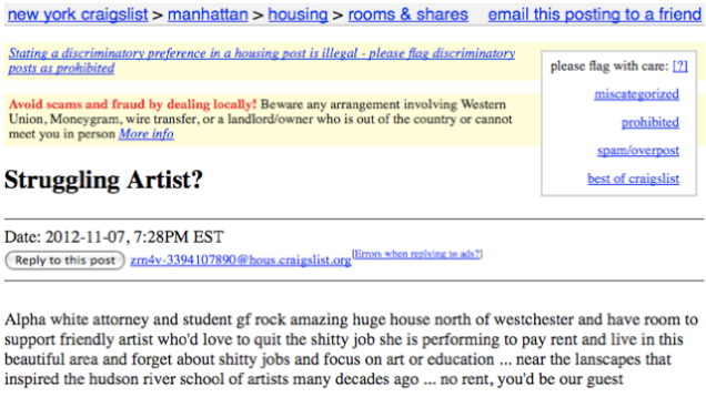 craigslist ad for 39 friendly artist 39 almost certainly a thinly veiled invitation to live in threesome. Black Bedroom Furniture Sets. Home Design Ideas