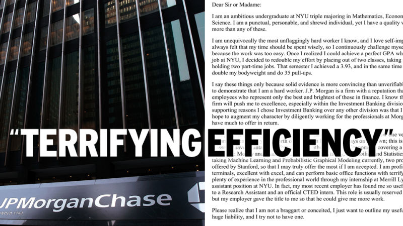 The Awful Cover Letter All Of Wall Street Is Laughing About