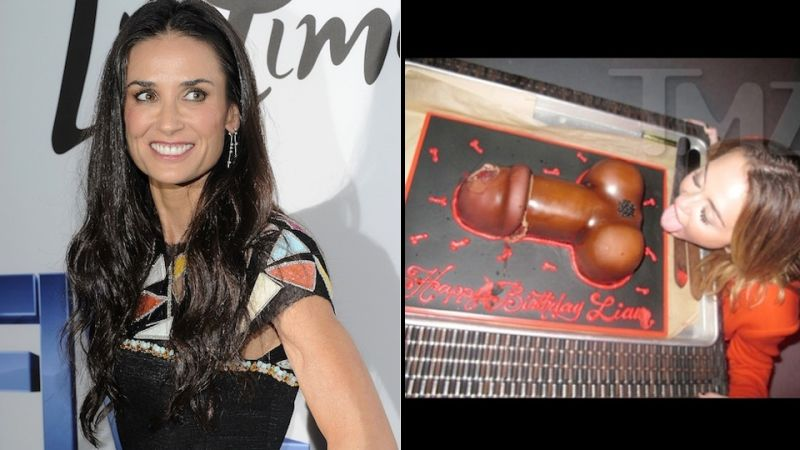 Before Rehab Demi Moore Was Pounding Red Bulls At Miley Cyrus