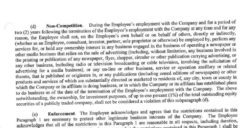 A Newspaper CompanyS Atrociously Exploitative Noncompete Agreement