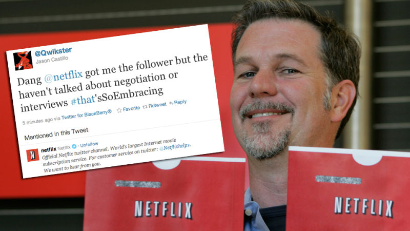 netflix announced this morning that its renaming its mail order dvd service qwikster but it seems to have forgotten to check that the twitter account