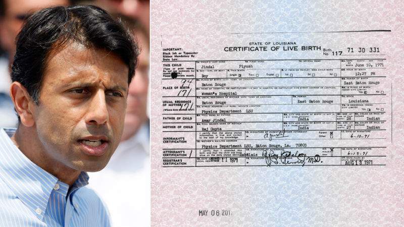 Louisiana Governor Releases His Birth Certificate