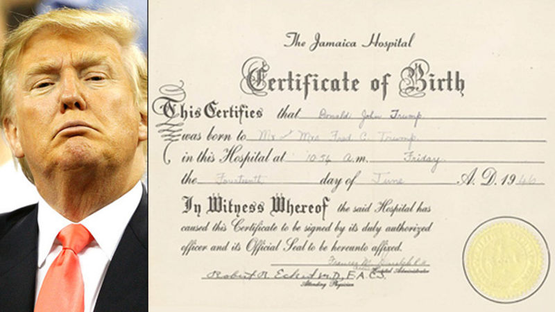 Donald Trumps Birth Certificate Proven To Be Fake