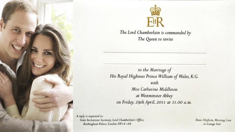 See William and Kates Royal Wedding Invitation