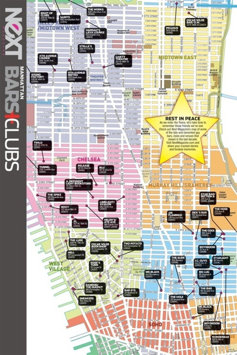 The Boys At Gay New York Nightlife Mag Next Magazine Mapped Out All The Homosexual Establishments That Closed Over The Past Ten Years This Makes Us Feel