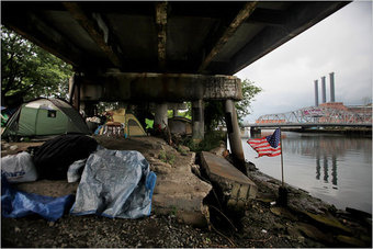 The way we live now In tents pitched under urban bridges that border toxic rivers in communities run by tribal chiefs just like on Survivor or something. & Whatu0027s So Wrong With Living In a Tent Down By the River?