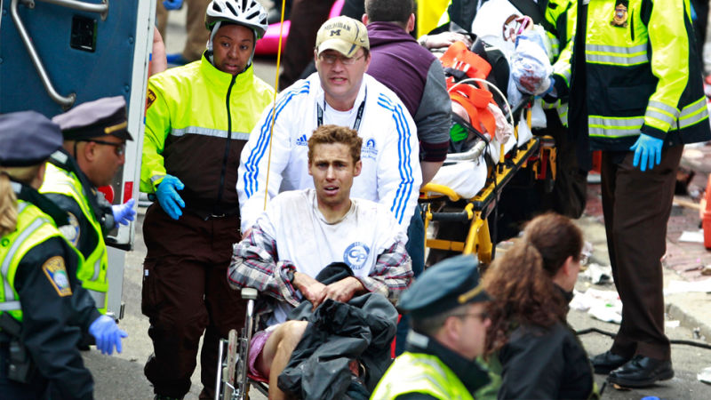 a review of the boston marathon bombing in america The two suspects in the boston marathon bombing walk near the marathon finish line, april 15, 2013 in boston, mass the twin bombings at the 116-year-old boston race resulted in the deaths of .