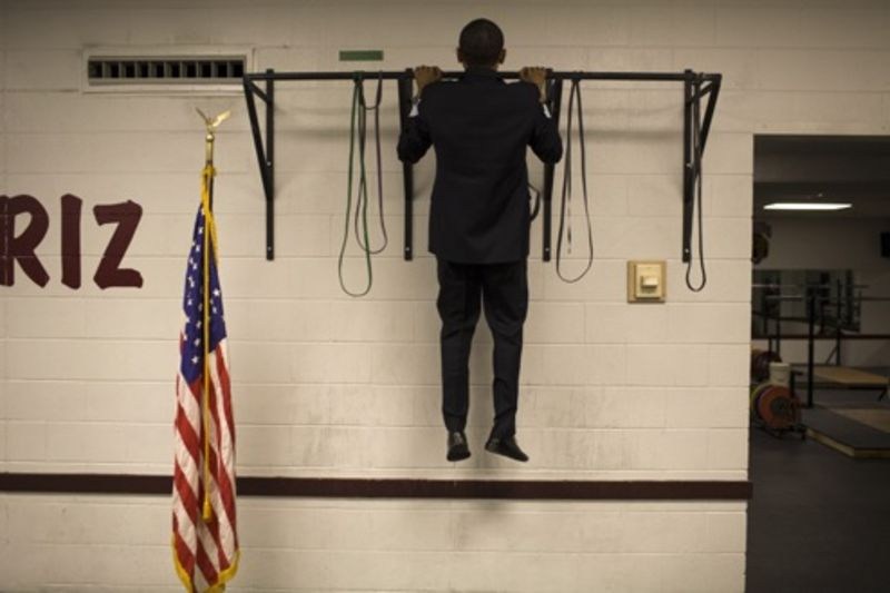 This picture of presidential hopeful Barack Obama doing pull-ups in  Missoula, MT was taken by the photographer Callie Shell for Time magazine  last April.