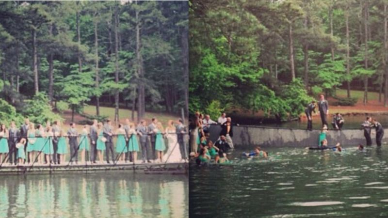 Entire Bridal Party Falls Into Lake During Wedding Photo Shoot
