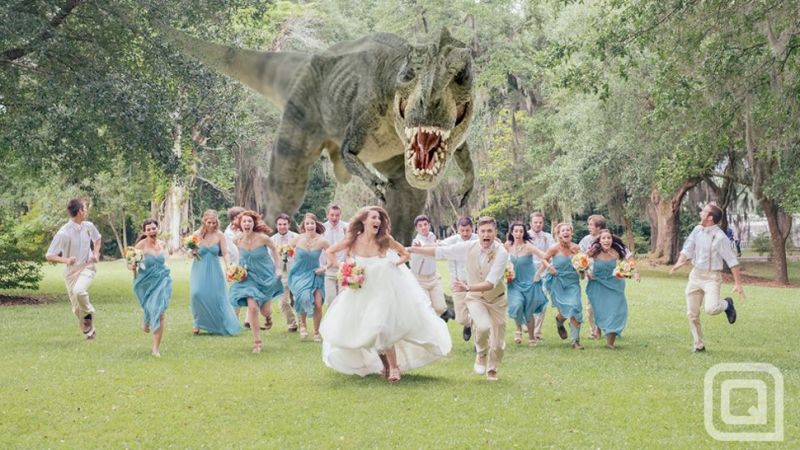'Best Wedding Photo Ever' Features T-rex Chasing After Bridal Party