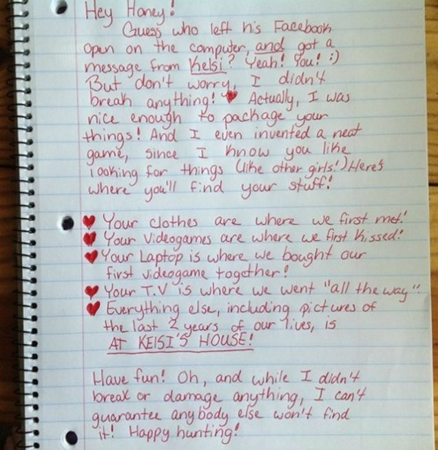 Cheating Boyfriend Finds Surprisingly Playful Breakup Letter