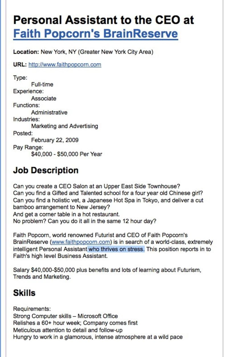 linkedin gawker faith popcorn noted futurist of the early 1990s was mainly known as one of new york s worst bosses 15 years later as the attached job listing shows