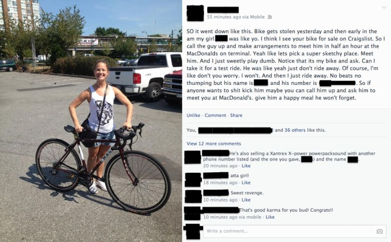 Girl Finds Her Stolen Bike on Craigslist, Gets It Back By ...