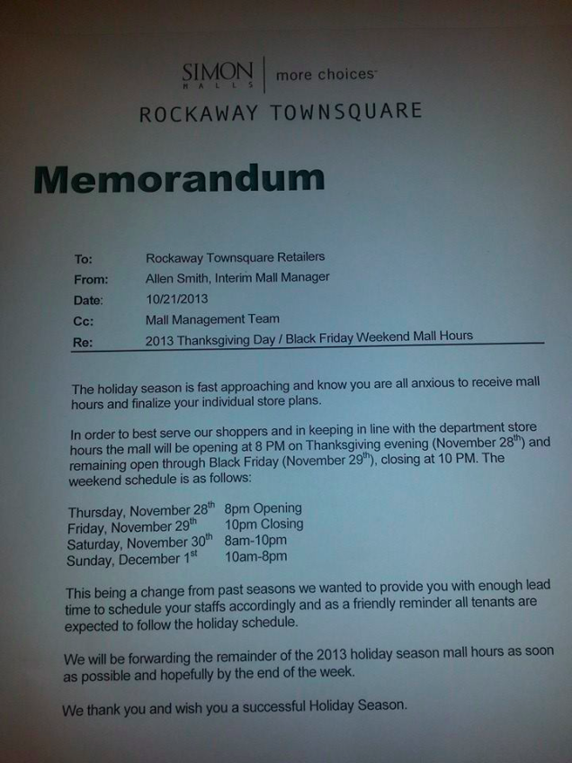 Mall Memo Black Friday Starts at 8 PM on Thanksgiving Runs 26 Hours – Holiday Memo Template