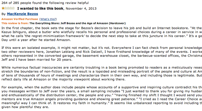 Jeff Bezos Wife Gives Book About Her Husband A One Star Amazon Review