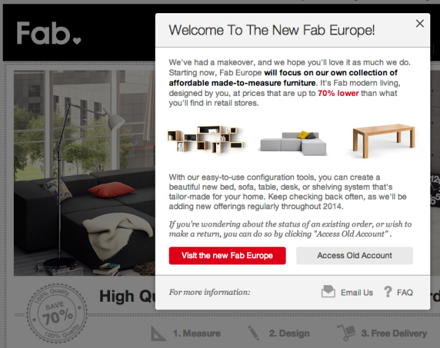 Basically shuts down in europe for Website to sell furniture