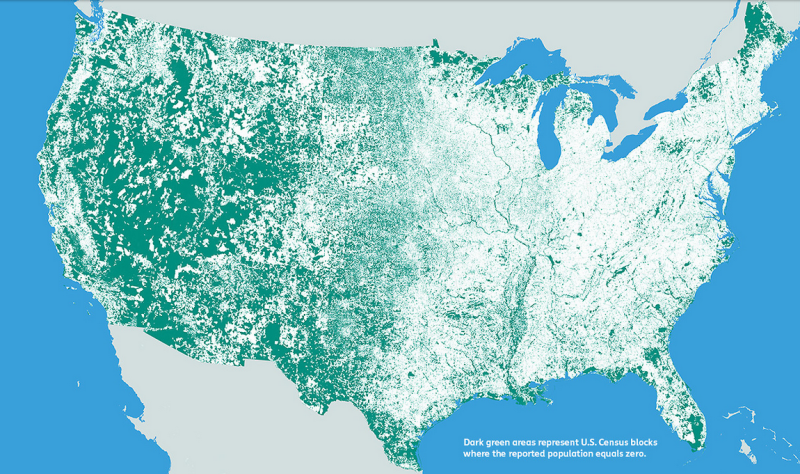These Simple Maps Show How Little of the United States Is Populated