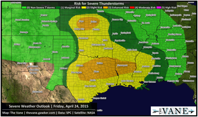 strong tornadoes are possible today in parts of texas and