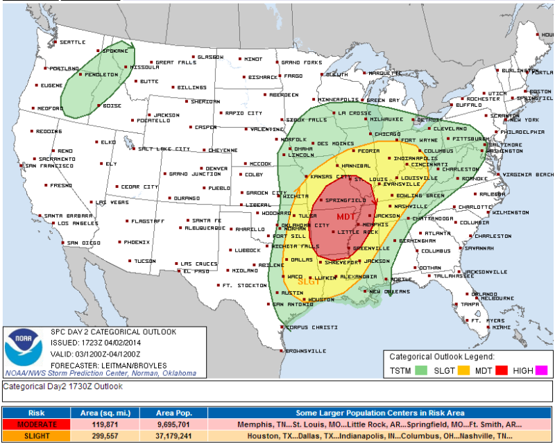 Tornadoes and Very Large Hail Possible Tomorrow in Miss /Ohio Valleys
