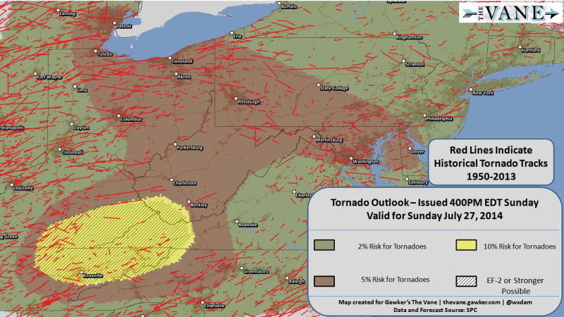 Tornadoes Are Possible Today Over Areas That Rarely See Tornadoes