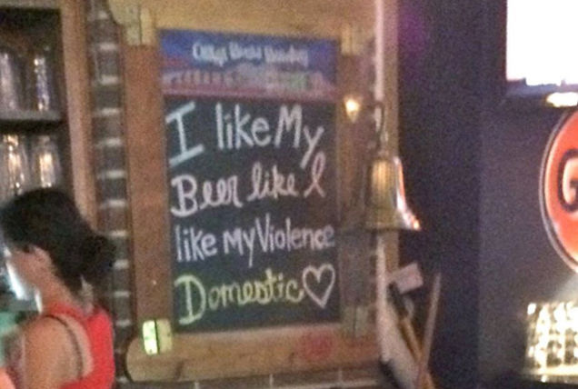 "Texas Bar: ""I Like My Beer Like I Like My Violence: Domestic&quot"