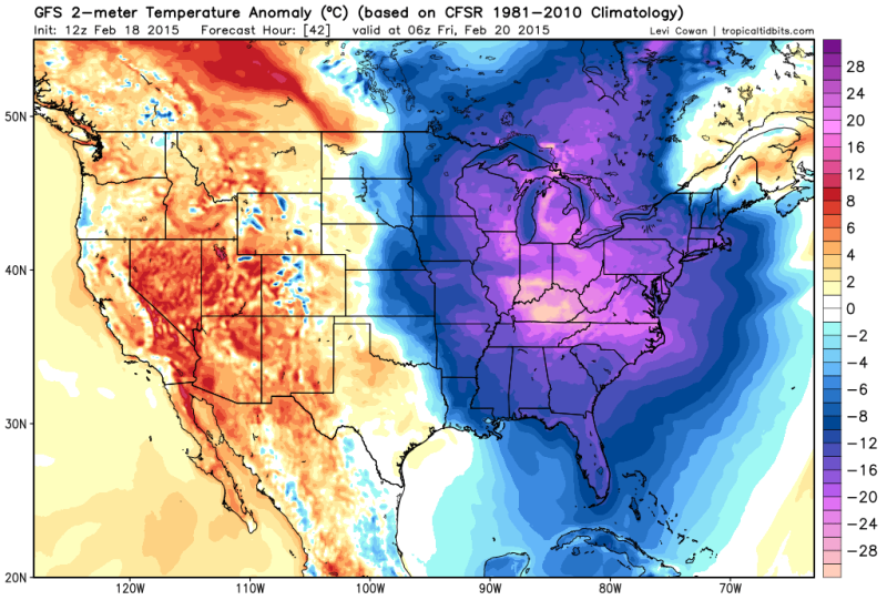 Dangerous, Record-Breaking Cold to Engulf the Eastern U.S. Tonight