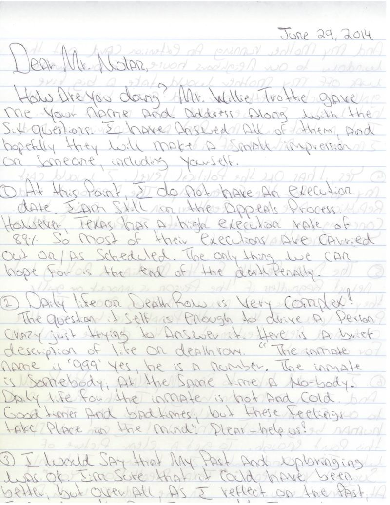 russell was given a copy of our letter by willie trottie another texas inmate who wrote to us