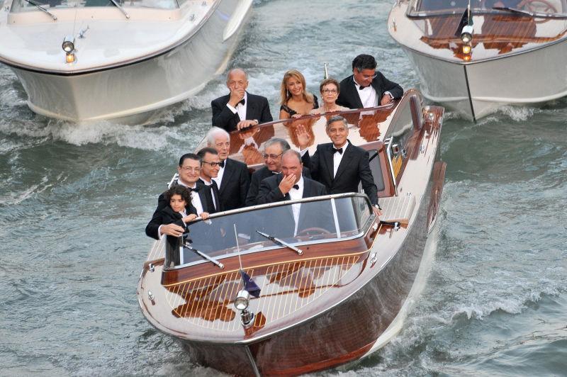 a fleet of weatherproofed boats stole the spotlight at clooneys wedding