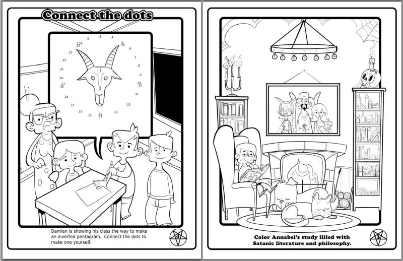 satanists made a coloring book for public schoolkids and its not bad satanic coloring book