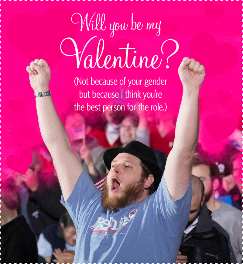 Attention Bernie Bros Woo a Hillary Voter With These Exclusive – Clintons Valentines Cards