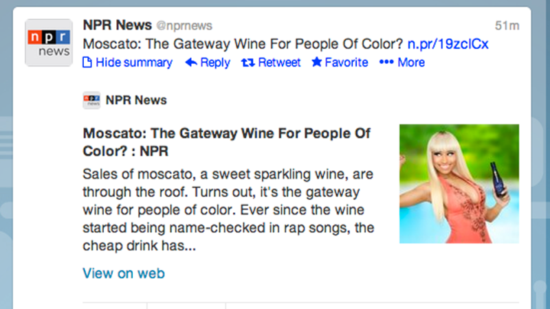 "NPR Be Like ""Black People Be Like 'I Love Moscato'&quot"