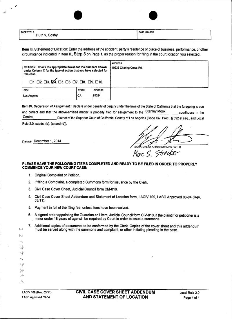 Judy Huth v Bill Cosby – Judicial Council Form Complaint