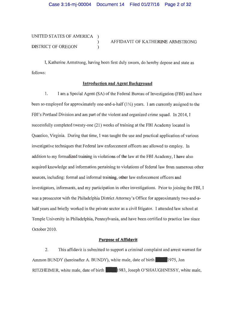 heres the federal complaint against ammon bundy and his crew - Literacy Narrative Essay Example