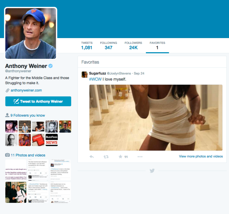 Anthony Weiner Still Doesn't Understand How to Use Twitter