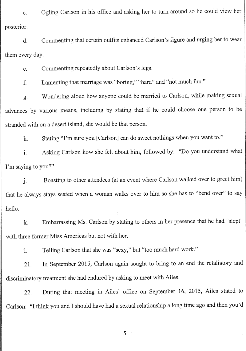 Here Is Gretchen Carlsons Sexual Harassment Complaint Against Roger
