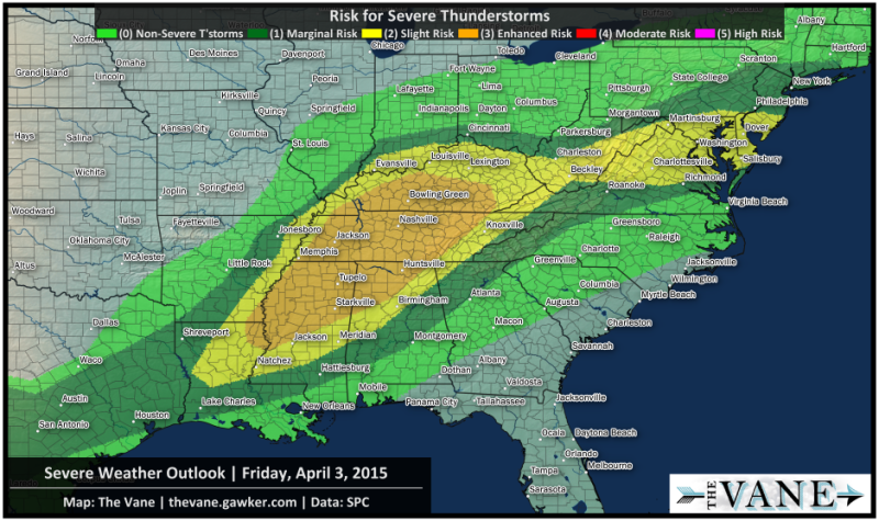 A Few Tornadoes Are Possible Today From Tennessee To Washington D C