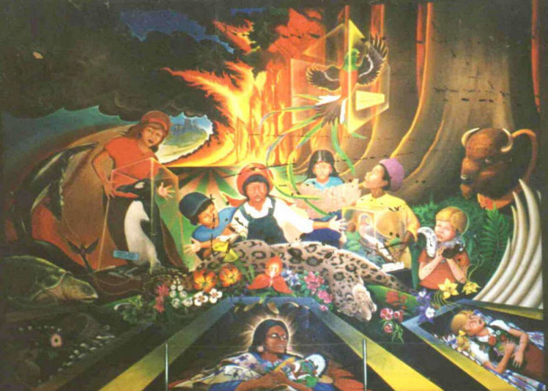Both Murals Were Painted By Artist Leo Tanguma. Tanguma, Who Denies Any  Conspiratorial Symbolism In The Paintings, Has Stated That The Murals   Part 39
