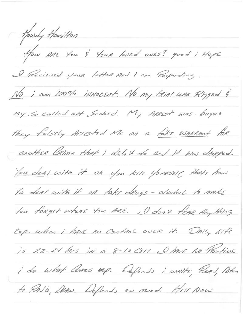 Letters from death row texas inmate jeff wood scheduled to die daily life is 22 24 hours in a 8 10 cell i have no routine i do what comes up depends i write read listen to radio draw depends on mood expocarfo Choice Image