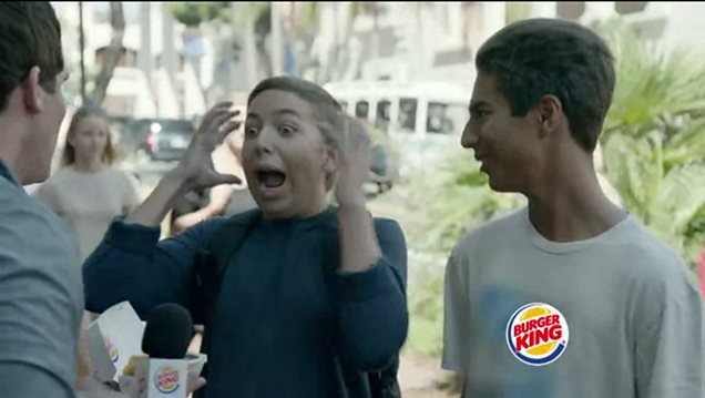 In An Ad For Burger King Chicken Nuggets That Aired Last Night On Fox During Its Football Programming A Vaguely Unhinged Man Interviews Two Teens The