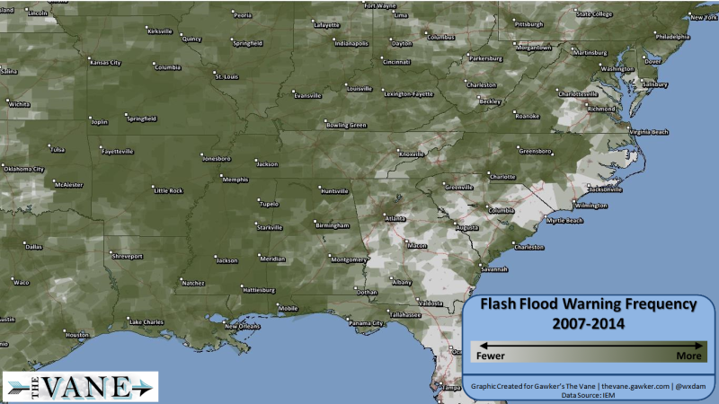 Flooding Map Florida.Maps Which Parts Of The U S See Flash Floods Most Often