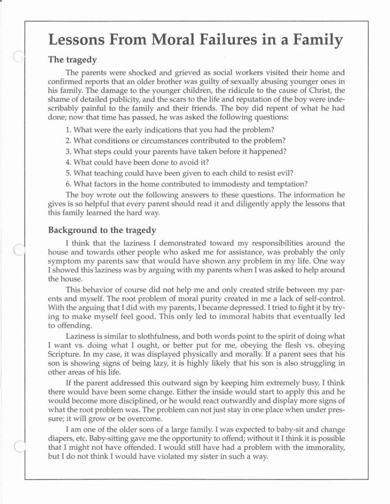 Workbooks sex education worksheets : The Duggar Homeschool Program's Terrifying Advice on Sexual Assault