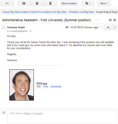 Employment Seeker Mistakes Nic Cage Jpeg For Cv Inadvertently Sends