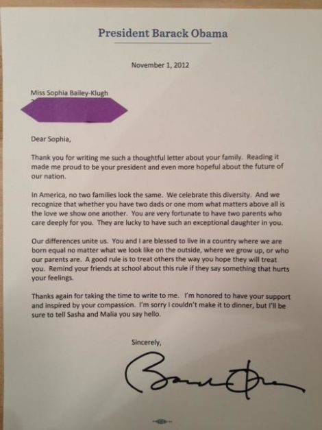 little girl with two dads receives personal letter from