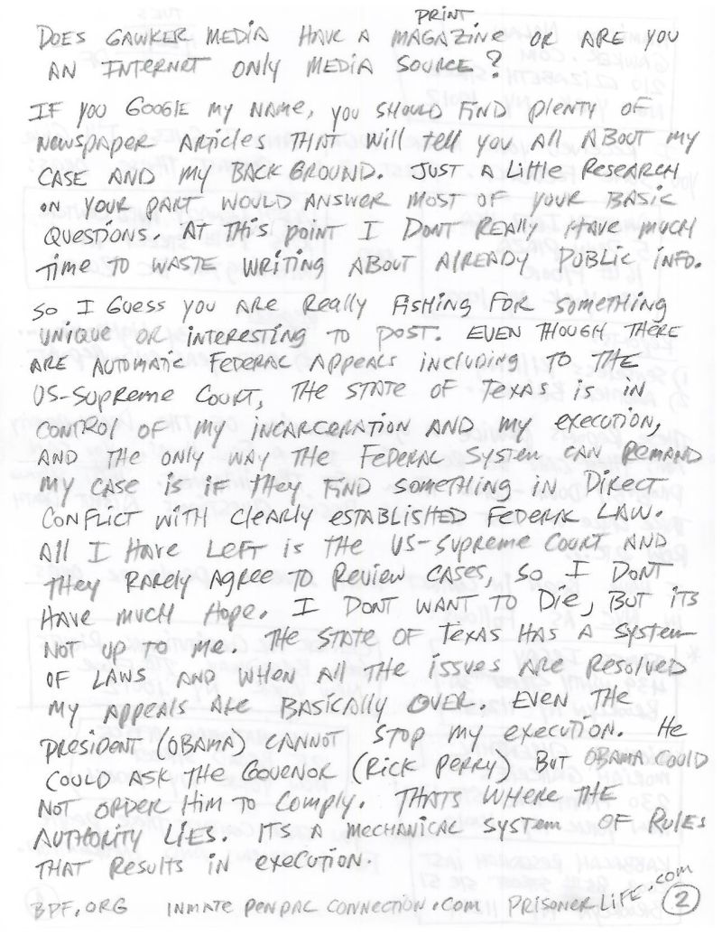 Letters From Death Row Douglas Feldman Texas Inmate