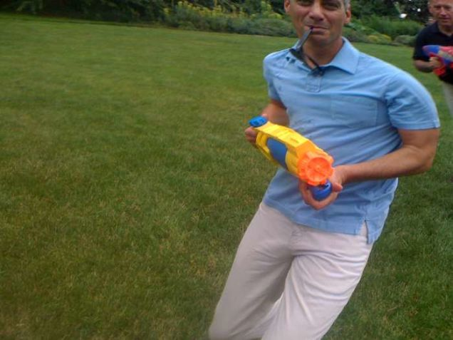 Rahm Emanuel and Joe Biden Had a Super Soaker Fight Yesterday